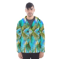 Crystal Gold Peacock, Abstract Mystical Lake Hooded Wind Breaker (Men)