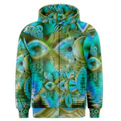 Crystal Gold Peacock, Abstract Mystical Lake Men s Zipper Hoodie