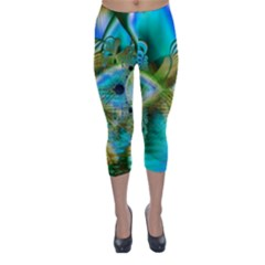 Crystal Gold Peacock, Abstract Mystical Lake Capri Winter Leggings
