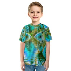 Crystal Gold Peacock, Abstract Mystical Lake Kid s Sport Mesh Tee