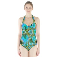 Crystal Gold Peacock, Abstract Mystical Lake Women s Halter One Piece Swimsuit