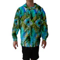 Crystal Gold Peacock, Abstract Mystical Lake Hooded Wind Breaker (Kids)