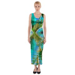Crystal Gold Peacock, Abstract Mystical Lake Fitted Maxi Dress