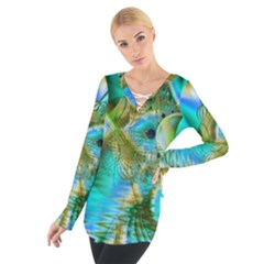 Crystal Gold Peacock, Abstract Mystical Lake Women s Tie Up Tee