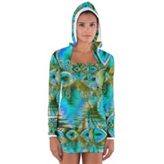 Crystal Gold Peacock, Abstract Mystical Lake Women s Long Sleeve Hooded T-shirt