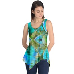 Crystal Gold Peacock, Abstract Mystical Lake Sleeveless Tunic