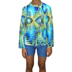 Crystal Lime Turquoise Heart Of Love, Abstract Kid s Long Sleeve Swimwear