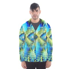 Crystal Lime Turquoise Heart Of Love, Abstract Hooded Wind Breaker (Men)