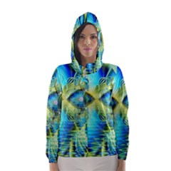Crystal Lime Turquoise Heart Of Love, Abstract Hooded Wind Breaker (Women)
