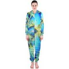 Crystal Lime Turquoise Heart Of Love, Abstract Hooded Jumpsuit (ladies)