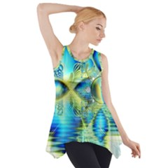 Crystal Lime Turquoise Heart Of Love, Abstract Side Drop Tank Tunic
