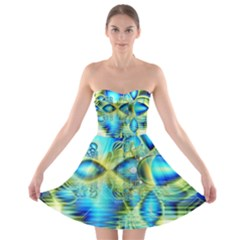 Crystal Lime Turquoise Heart Of Love, Abstract Strapless Dresses
