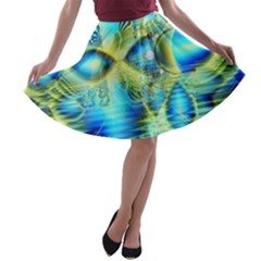 Crystal Lime Turquoise Heart Of Love, Abstract A-line Skater Skirt