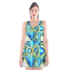 Crystal Lime Turquoise Heart Of Love, Abstract Scoop Neck Skater Dress