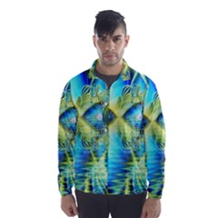 Crystal Lime Turquoise Heart Of Love, Abstract Wind Breaker (men)