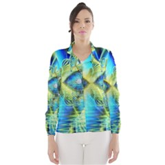 Crystal Lime Turquoise Heart Of Love, Abstract Wind Breaker (women)