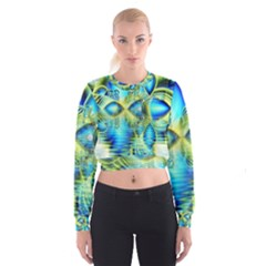 Crystal Lime Turquoise Heart Of Love, Abstract Women s Cropped Sweatshirt