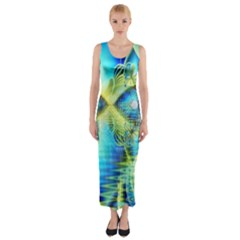 Crystal Lime Turquoise Heart Of Love, Abstract Fitted Maxi Dress