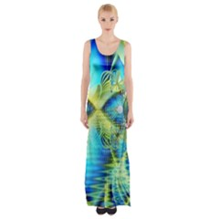 Crystal Lime Turquoise Heart Of Love, Abstract Maxi Thigh Split Dress