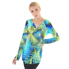 Crystal Lime Turquoise Heart Of Love, Abstract Women s Tie Up Tee