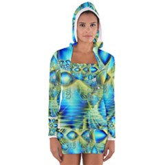 Crystal Lime Turquoise Heart Of Love, Abstract Women s Long Sleeve Hooded T-shirt