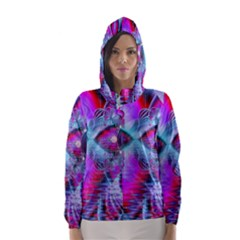 Crystal Northern Lights Palace, Abstract Ice  Hooded Wind Breaker (women)