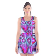 Crystal Northern Lights Palace, Abstract Ice  Scoop Neck Skater Dress