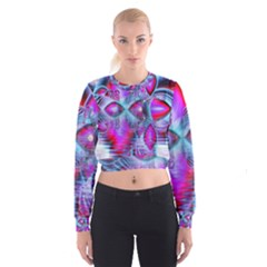 Crystal Northern Lights Palace, Abstract Ice  Women s Cropped Sweatshirt