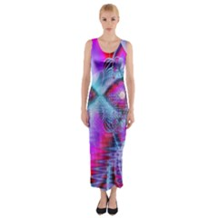 Crystal Northern Lights Palace, Abstract Ice  Fitted Maxi Dress