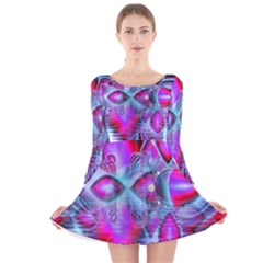 Crystal Northern Lights Palace, Abstract Ice  Long Sleeve Velvet Skater Dress