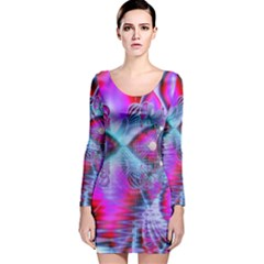 Crystal Northern Lights Palace, Abstract Ice  Long Sleeve Velvet Bodycon Dress