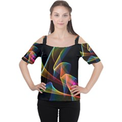Crystal Rainbow, Abstract Winds Of Love  Women s Cutout Shoulder Tee