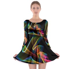 Crystal Rainbow, Abstract Winds Of Love  Long Sleeve Skater Dress