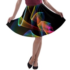 Crystal Rainbow, Abstract Winds Of Love  A-line Skater Skirt
