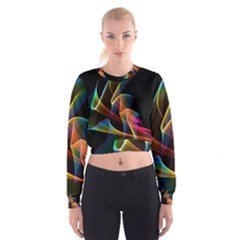 Crystal Rainbow, Abstract Winds Of Love  Women s Cropped Sweatshirt