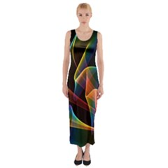 Crystal Rainbow, Abstract Winds Of Love  Fitted Maxi Dress