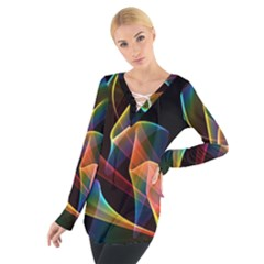 Crystal Rainbow, Abstract Winds Of Love  Women s Tie Up Tee