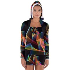 Crystal Rainbow, Abstract Winds Of Love  Women s Long Sleeve Hooded T-shirt