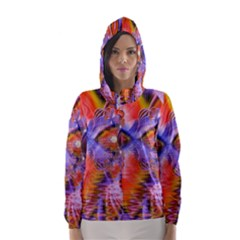 Crystal Star Dance, Abstract Purple Orange Hooded Wind Breaker (women)