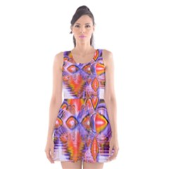 Crystal Star Dance, Abstract Purple Orange Scoop Neck Skater Dress