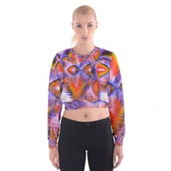 Crystal Star Dance, Abstract Purple Orange Women s Cropped Sweatshirt