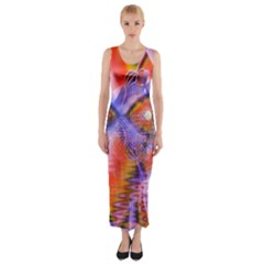 Crystal Star Dance, Abstract Purple Orange Fitted Maxi Dress