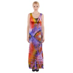 Crystal Star Dance, Abstract Purple Orange Maxi Thigh Split Dress