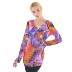 Crystal Star Dance, Abstract Purple Orange Women s Tie Up Tee