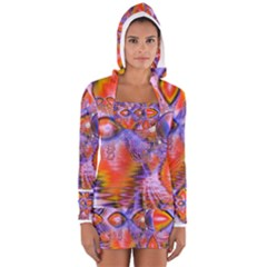 Crystal Star Dance, Abstract Purple Orange Women s Long Sleeve Hooded T-shirt