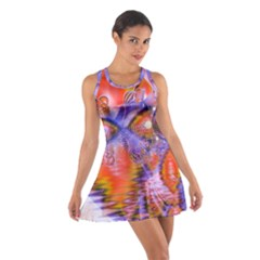 Crystal Star Dance, Abstract Purple Orange Racerback Dresses