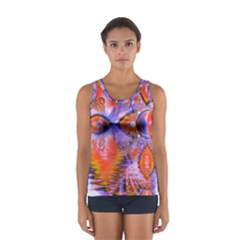 Crystal Star Dance, Abstract Purple Orange Tops