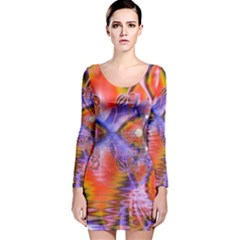Crystal Star Dance, Abstract Purple Orange Long Sleeve Velvet Bodycon Dress