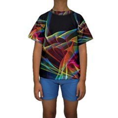 Dancing Northern Lights, Abstract Summer Sky  Kid s Short Sleeve Swimwear