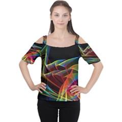 Dancing Northern Lights, Abstract Summer Sky  Women s Cutout Shoulder Tee
